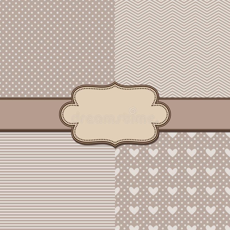 Le vecteur a placé quatre textures et rubans simples de vintage illustration de vecteur