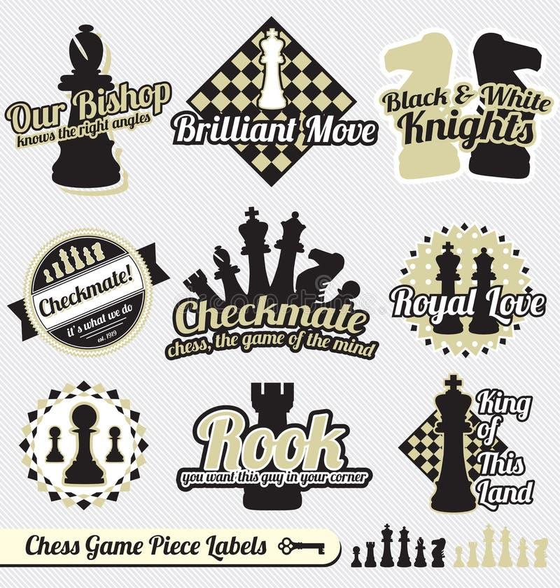 Le vecteur a placé : Rétro étiquettes et collants d'échecs illustration de vecteur
