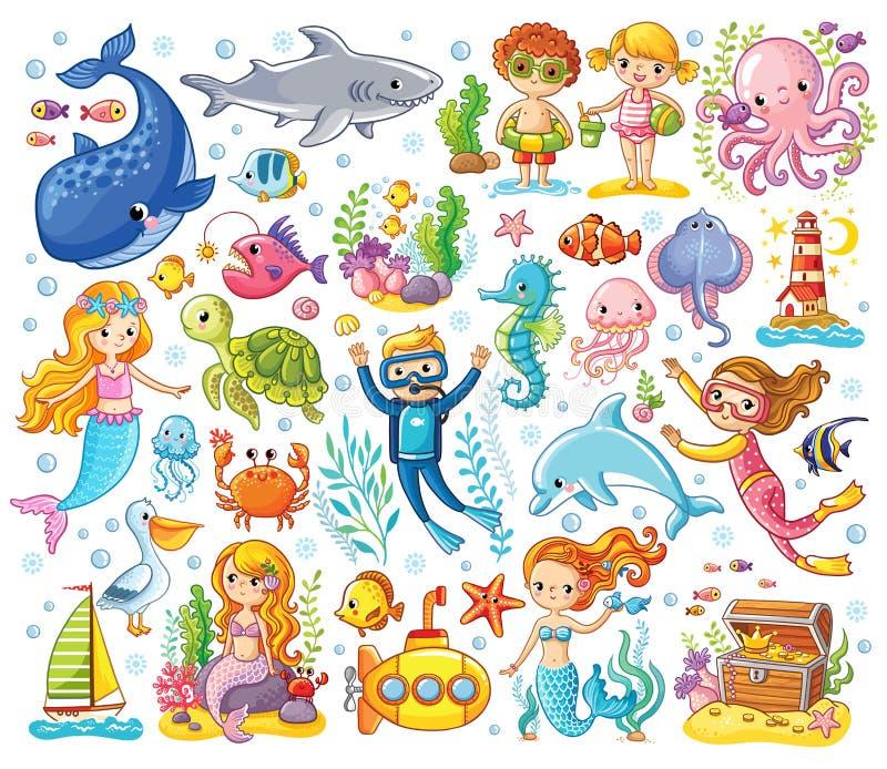 Le vecteur a placé sur un thème de mer dans un style du ` s d'enfants illustration libre de droits