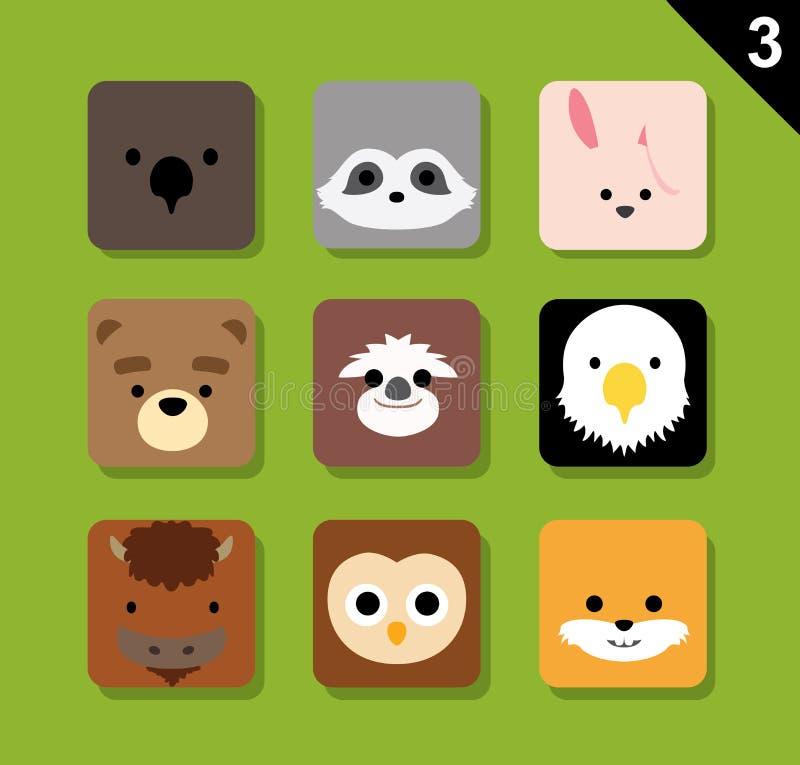 Le vecteur plat de bande dessinée d'icône d'application de visages d'animal a placé les 3 USA illustration de vecteur