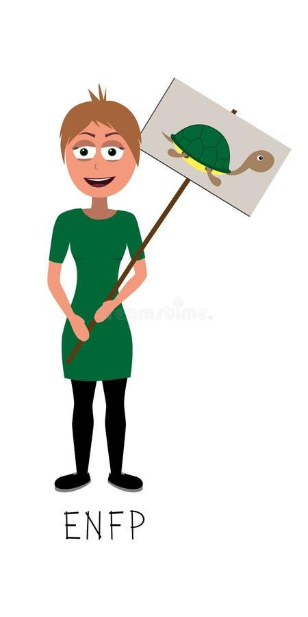 Le vecteur plat de femme d'activiste représente la personnalité d'ENFP illustration libre de droits