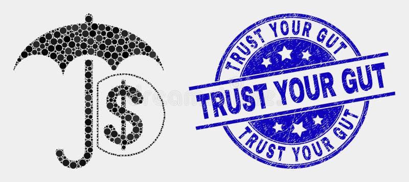 Le vecteur a pointillé l'icône financière de parapluie et afflige la confiance votre joint de timbre d'intestin illustration libre de droits