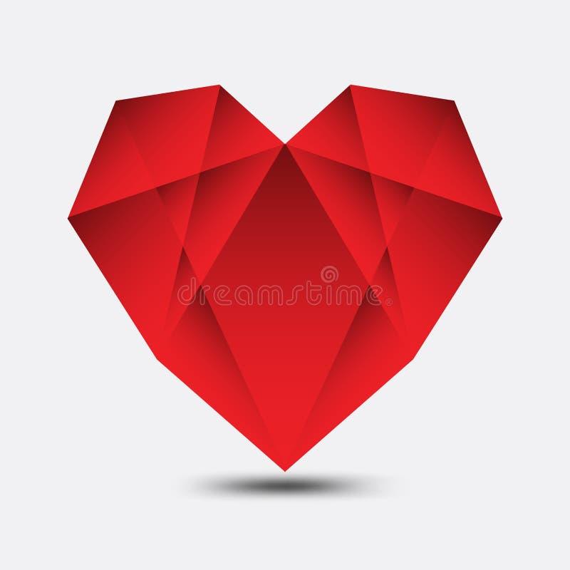Le vecteur polygonal de coeur rouge, l'icône de coeur, le logo, l'icône plate pour des applis et le site Web, aiment le signe, sy illustration libre de droits