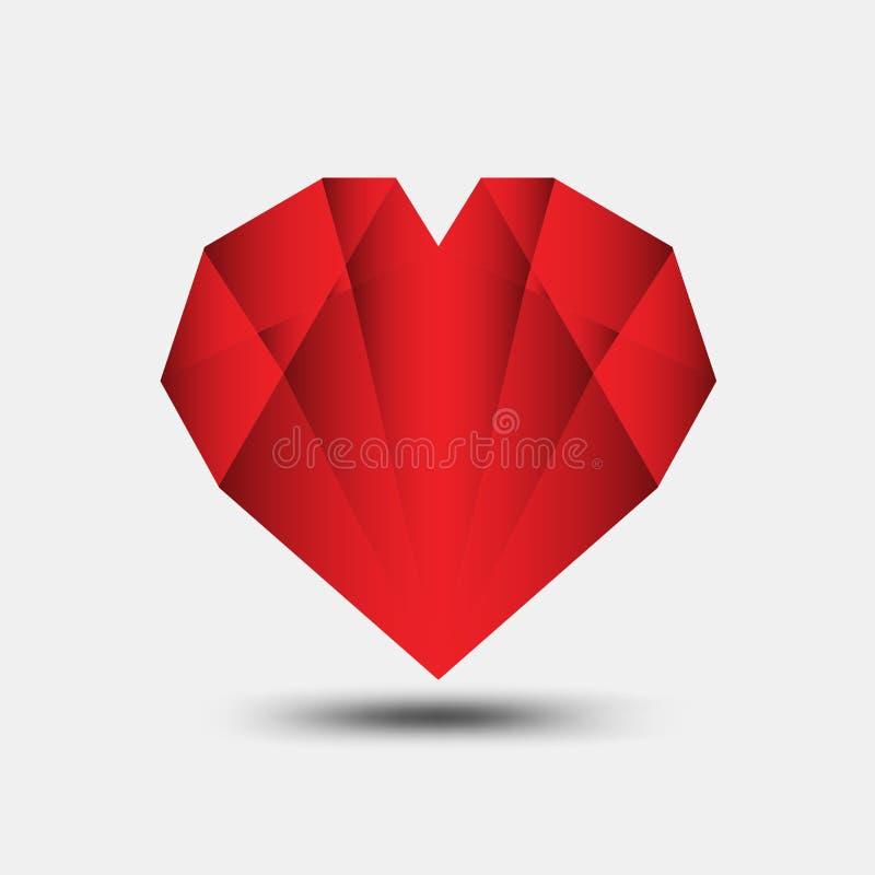 Le vecteur polygonal de coeur rouge, l'icône de coeur, le logo de T-shirt, l'icône plate pour des applis et le site Web, aiment l illustration libre de droits