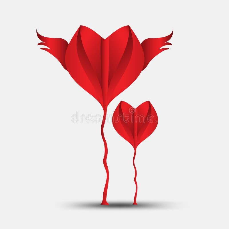 Le vecteur polygonal de coeur rouge, l'ic?ne de coeur, le logo de T-shirt, l'ic?ne plate pour des applis et le site Web, aiment l illustration stock