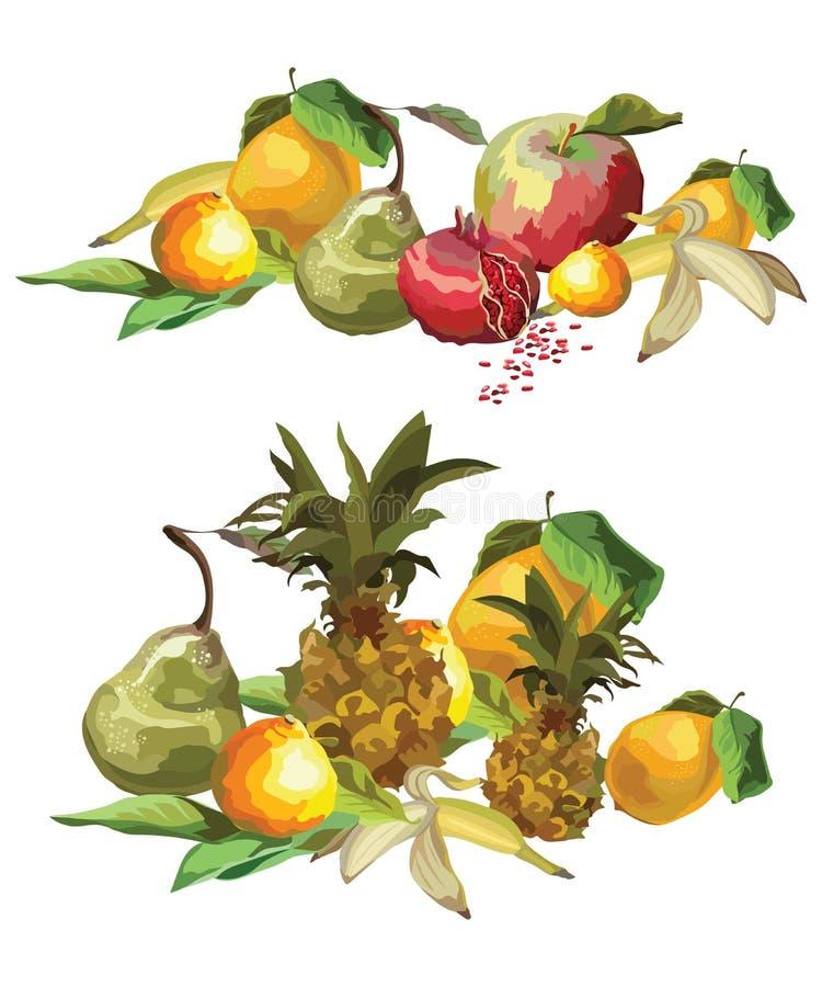 Le vecteur porte des fruits composition illustration stock