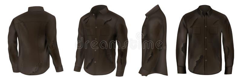 Le vecteur réaliste de chemises noires en lambeaux et sale a placé illustration libre de droits
