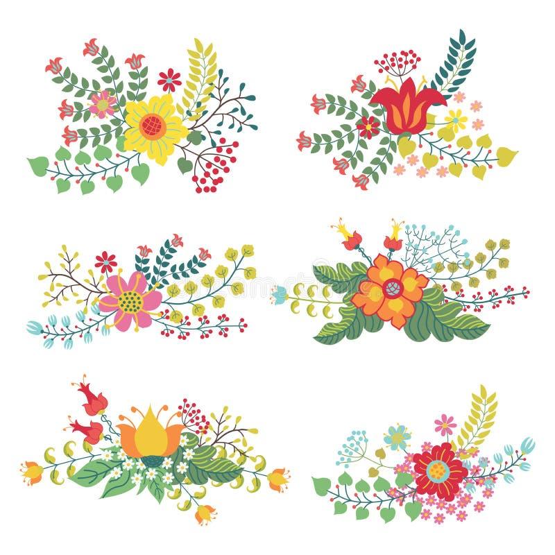 Le vecteur réglé avec le vintage fleurit la composition illustration de vecteur