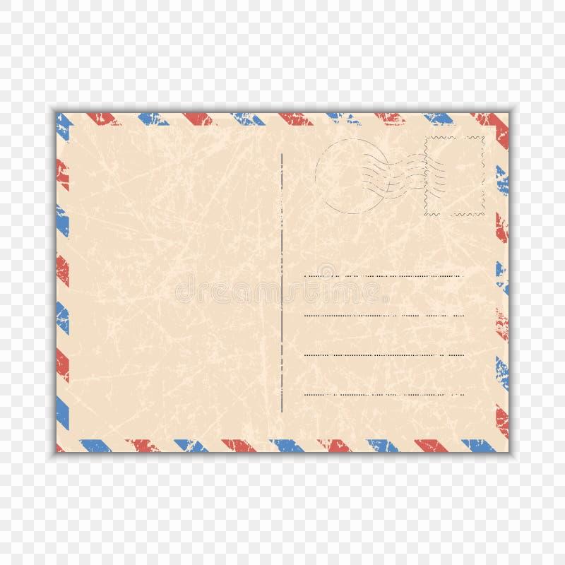 Le vecteur a rayé la carte Une carte postale minable pour le voyage sur un fond transparent d'isolement Calibre pour vos concepti illustration libre de droits
