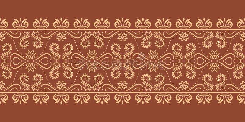 Le vecteur s'épanouissent le modèle baroque de répétition de frontière illustration de vecteur