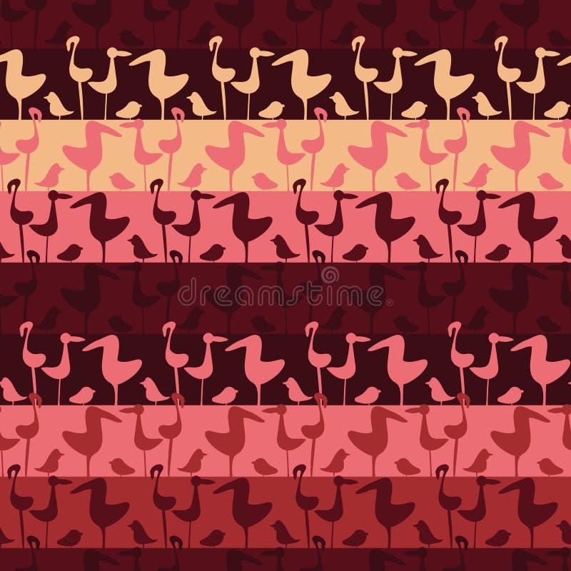 Le vecteur sans couture barre le modèle avec des rangées des oiseaux roses illustration stock
