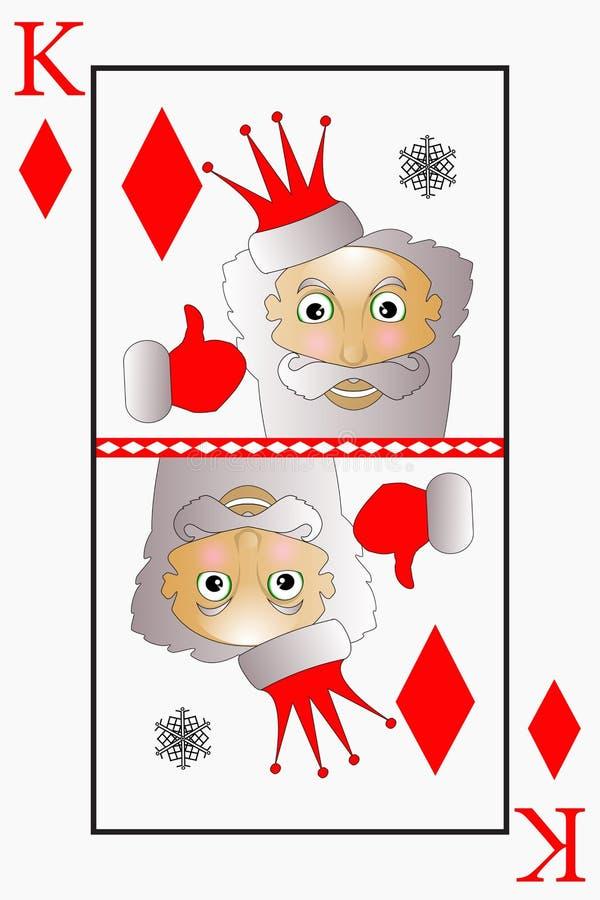 Le vecteur Santa Claus est les diamants jouants d'un costume de roi de carte, cloches illustration stock
