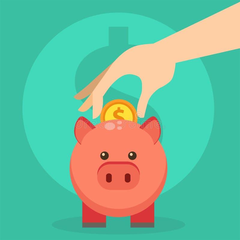 Le vecteur sauvent le porc plat d'investissement productif de tirelire de tirelire de finances de pièce de monnaie d'économies d' illustration de vecteur