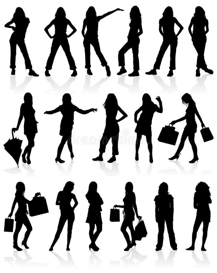 Le vecteur silhouette des filles illustration libre de droits