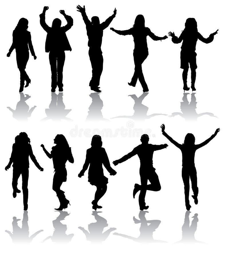 Le vecteur silhouette l'homme et les femmes de danse illustration libre de droits