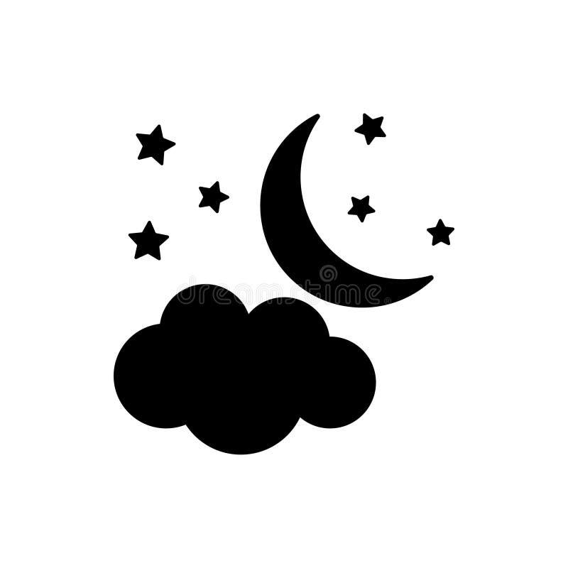Le vecteur survit à des icônes Lune avec l'étoile et le nuage Illustration plate de vecteur image libre de droits