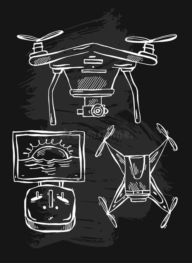 Le vecteur tiré par la main l'illustration au trait des bourdons, multicopter d'isolement sur le fond blanc illustration de vecteur
