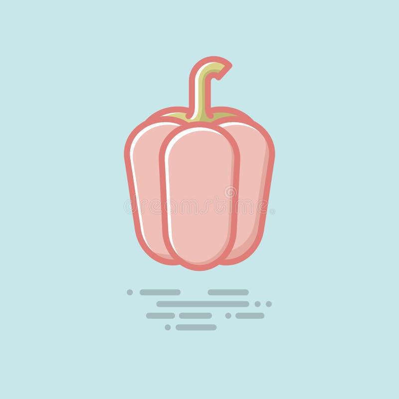 Le vecteur végétal rouge de paprika a rempli ligne icône illustration libre de droits