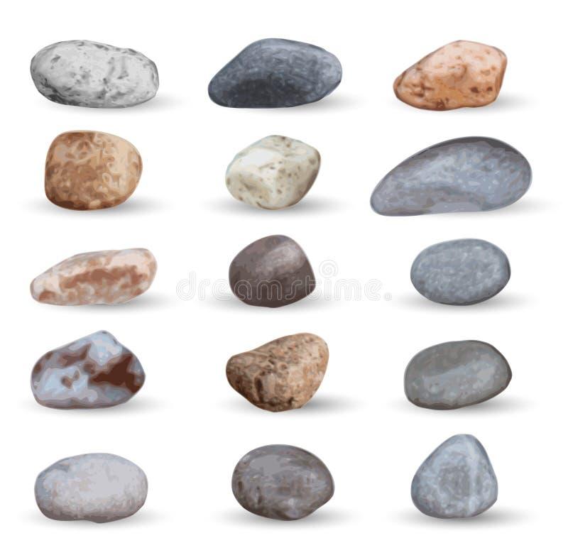 Le vecteur voient les pierres et la collection de cailloux sur le blanc illustration stock
