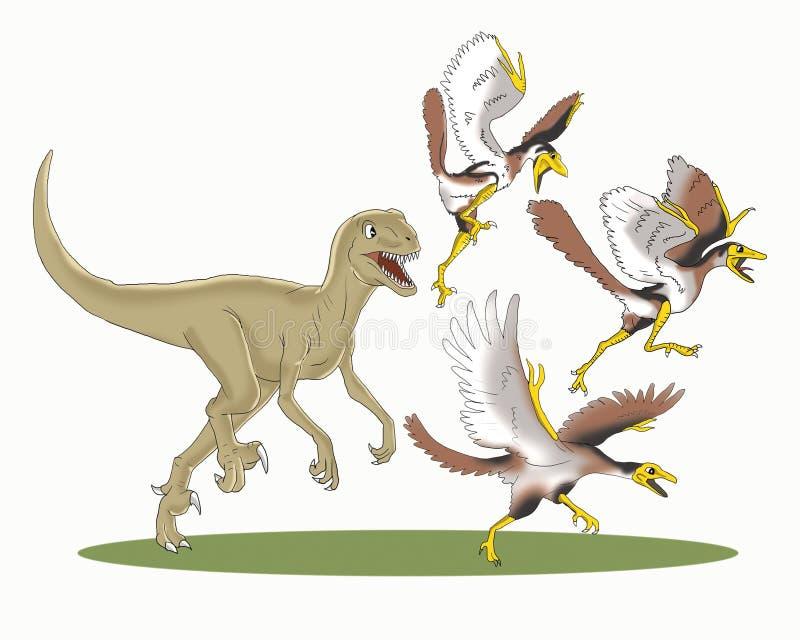 Le Velociraptor a chassé la bande dessinée antique d'oiseaux photo stock