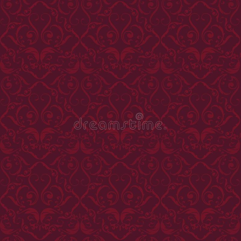 Le velours rouge s'épanouissent ornated le fond sans couture Style simple illustration stock