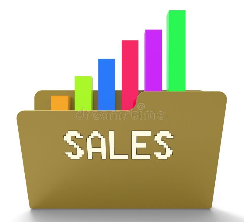 Le vendite archivano i mezzi rappresentazione del grafico e del grafico commerciale 3d royalty illustrazione gratis