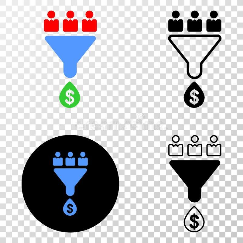 Le vendite dei clienti versano l'icona con un imbuto di vettore ENV con la versione di contorno illustrazione di stock