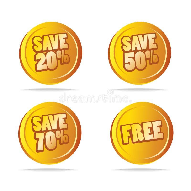 Le vendite salvano le modifiche come vettore delle icone illustrazione vettoriale