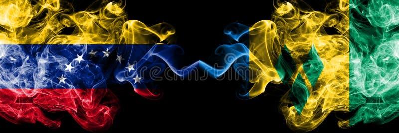 Le Venezuela contre les drapeaux mystiques fumeux de Saint-Vincent-et-les-Grenadines placés côte à côte Drapeaux soyeux color?s ? illustration de vecteur