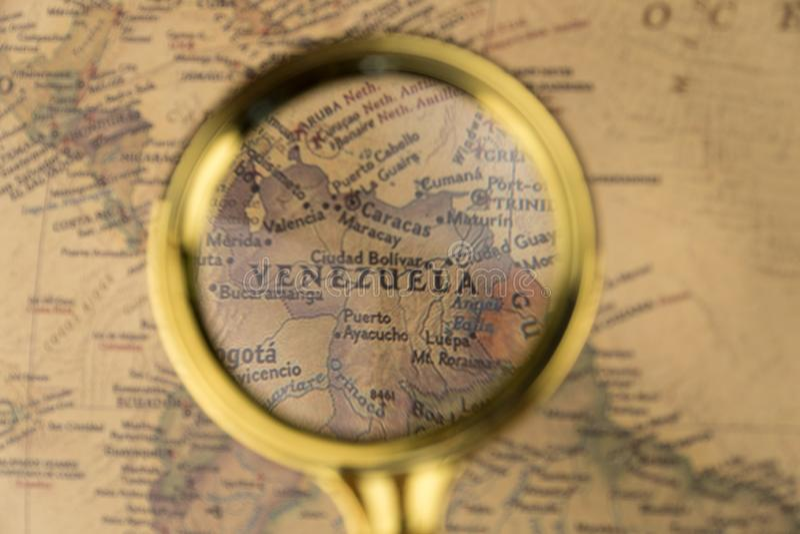 Le Venezuela sur la carte photographie stock