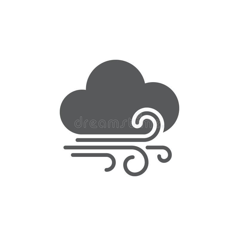 Le vent et les nuages survivent à l'icône d'isolement sur le fond blanc Illustration de vecteur illustration stock