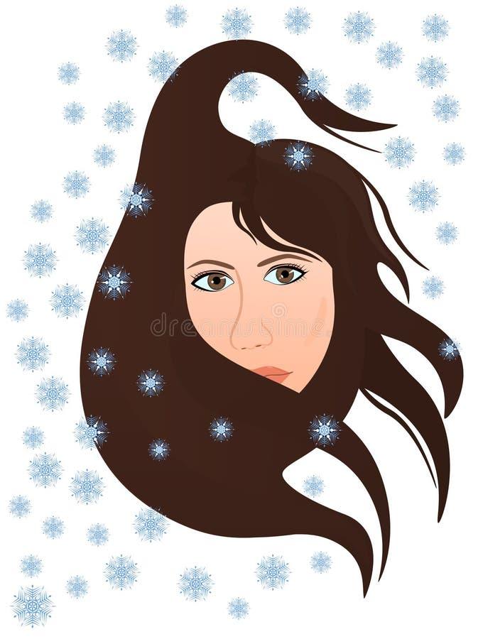 le vent froid de l 39 hiver souffle dans le visage de la femme illustration de vecteur. Black Bedroom Furniture Sets. Home Design Ideas