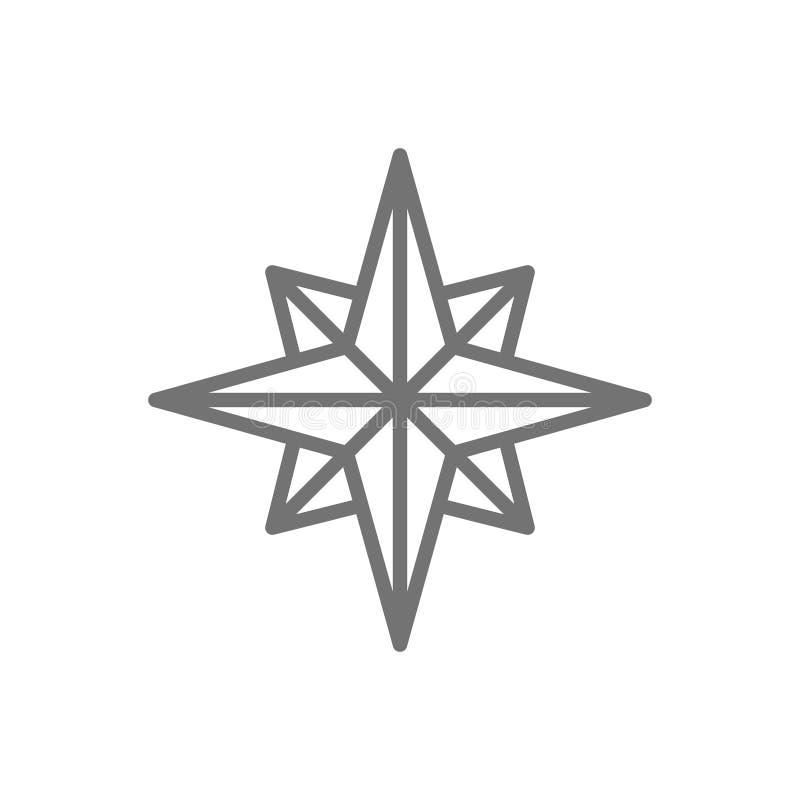 Le vent s'est levé, boussole, ligne icône de navigation illustration libre de droits