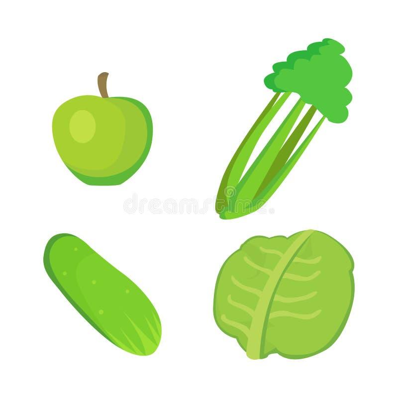 Le verdure organiche dell'ingrediente isolate cellulosa dell'alimento di dieta di verde di verdure sano del pasto raggruppano il  illustrazione vettoriale