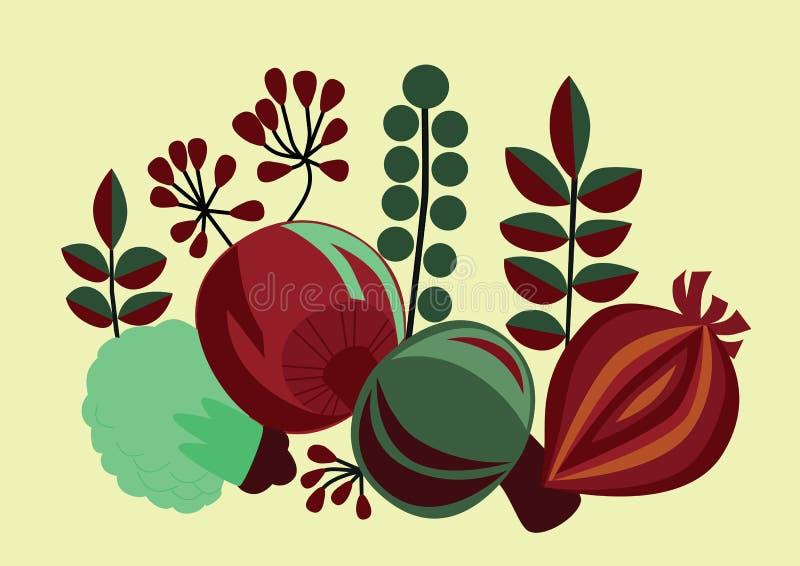 Le verdure stilizzate immagine stock