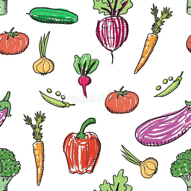 Le verdure sveglie scarabocchiano illustrazione vettoriale