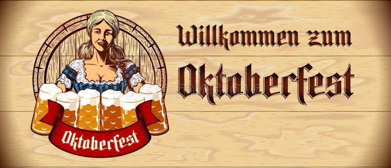 Le verre de bière écument serveuse Wood Background Flyer Copyspace de fille d'Oktoberfest illustration de vecteur