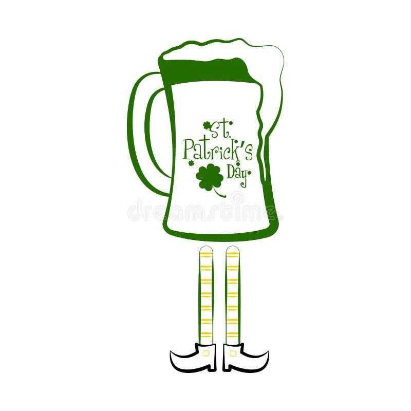 Le verre de bière vert avec elven des jambes illustration stock