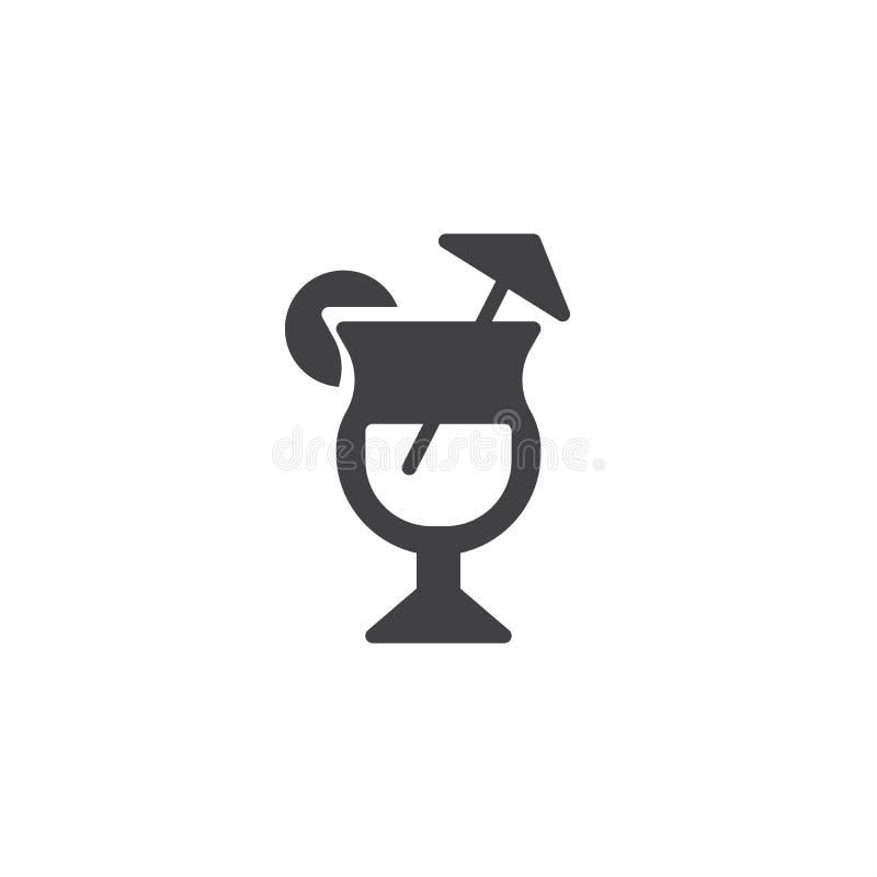 Le verre de cocktail avec la chaux et la paille dirigent l'icône illustration de vecteur