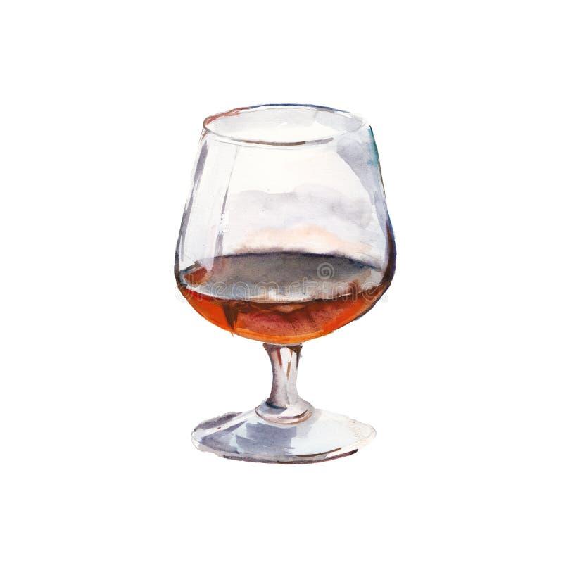 Le verre de cognac d'isolement sur un fond blanc, une illustration d'aquarelle illustration de vecteur
