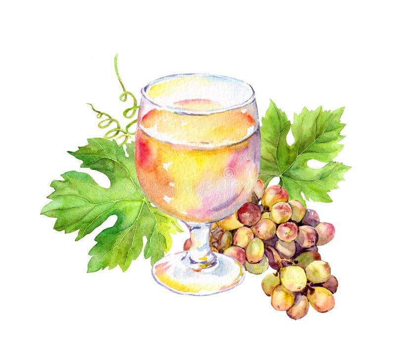 Le verre de vin blanc avec la vigne part, des baies de raisin watercolor illustration de vecteur