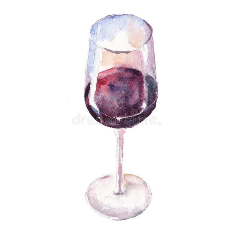 Le verre de vin d'isolement sur un fond blanc, une illustration d'aquarelle illustration de vecteur