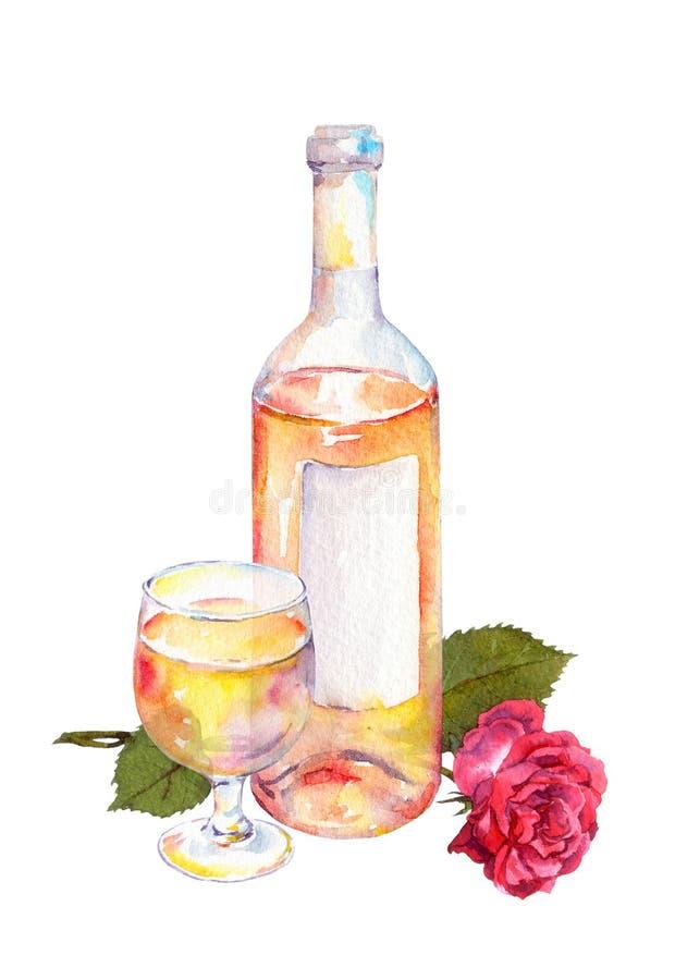 Le verre de vin, la bouteille de vin avec du vin rose ou blanc et la rose de rouge fleurissent watercolor illustration stock