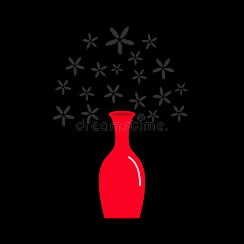 Le verre en céramique rouge de poterie d'icône de vase avec la marguerite fleurit la conception plate illustration stock