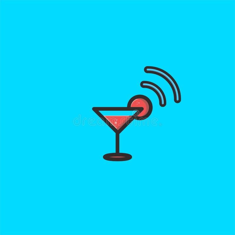 Le verre et la conception de logo de signal calibre de vecteur d'icône de Dan de symbole illustration libre de droits
