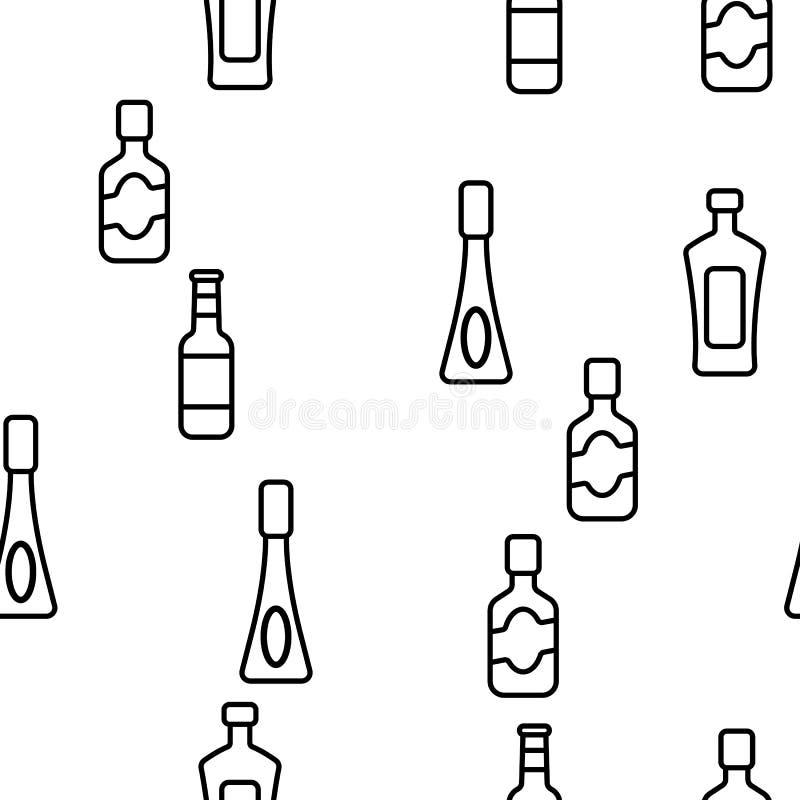 Le verre met le modèle en bouteille sans couture de vecteur linéaire illustration de vecteur