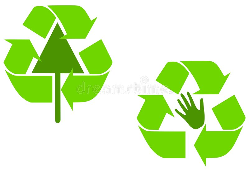 Le vert alternatif réutilisent des symboles illustration libre de droits