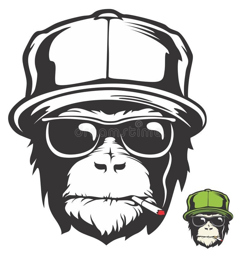 le Vert-chapeau monkeys la fumée illustration de vecteur
