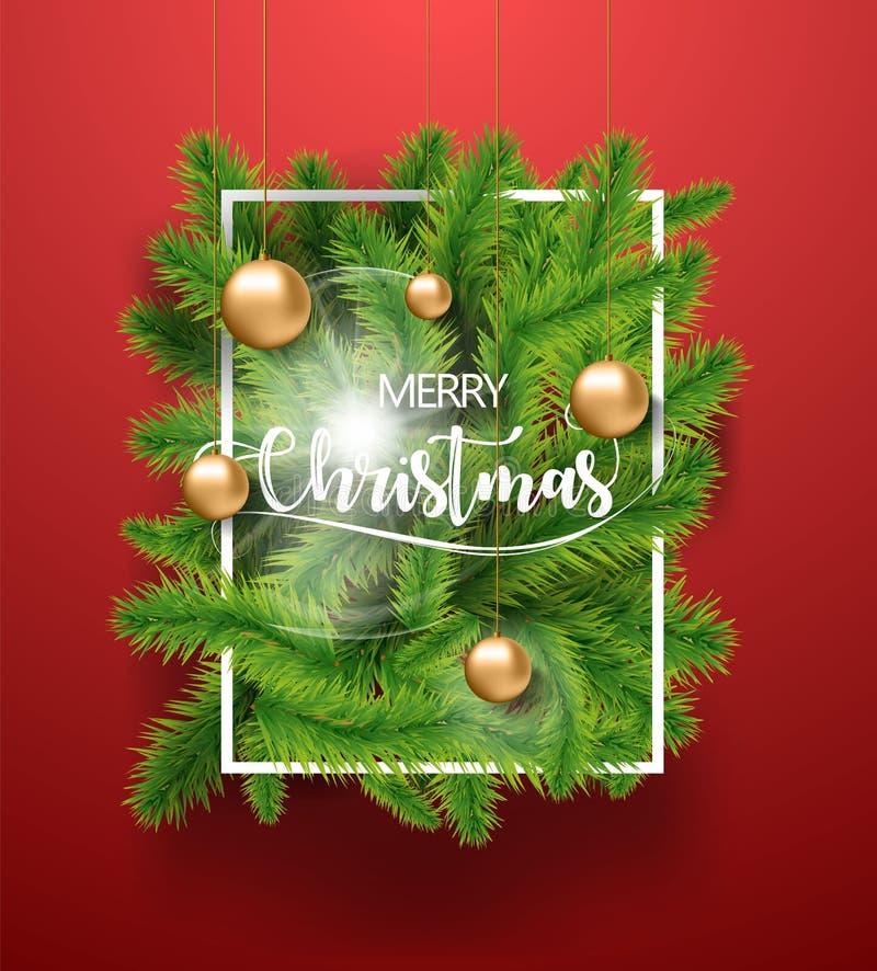 Le vert d'arbre de Joyeux Noël s'embranche avec les jouets d'ampoule d'or et le cadre blanc sur le fond rouge Illustration de vec illustration libre de droits