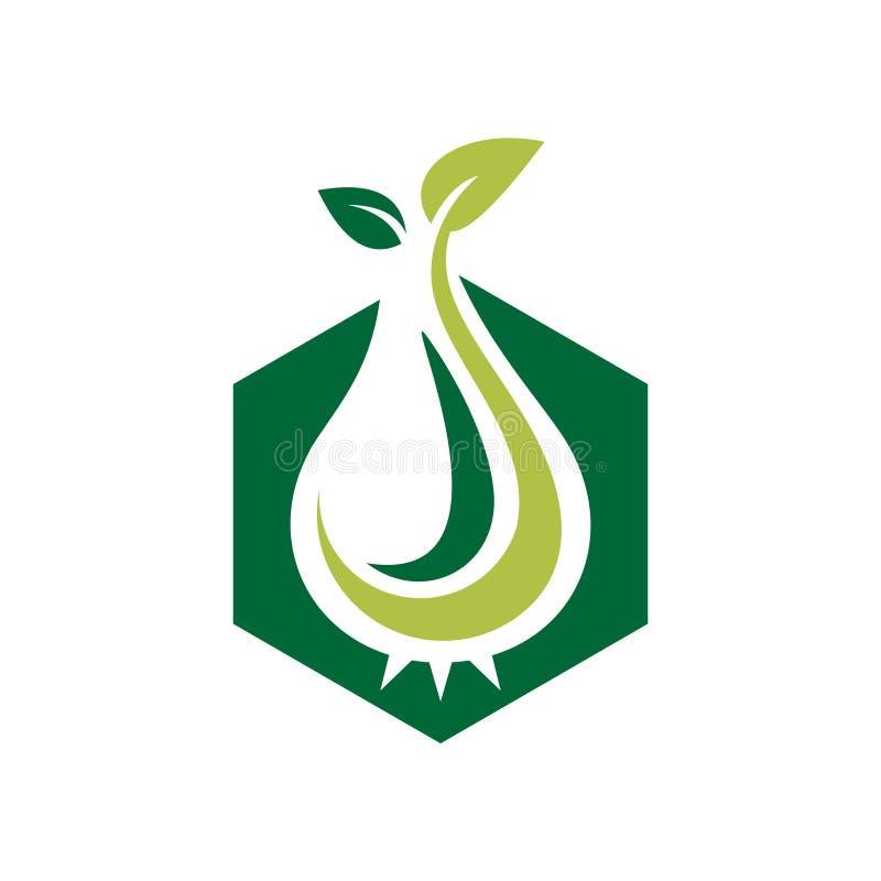 Le vert d'hexagone cultivent la pousse Logo Icon agricole illustration libre de droits